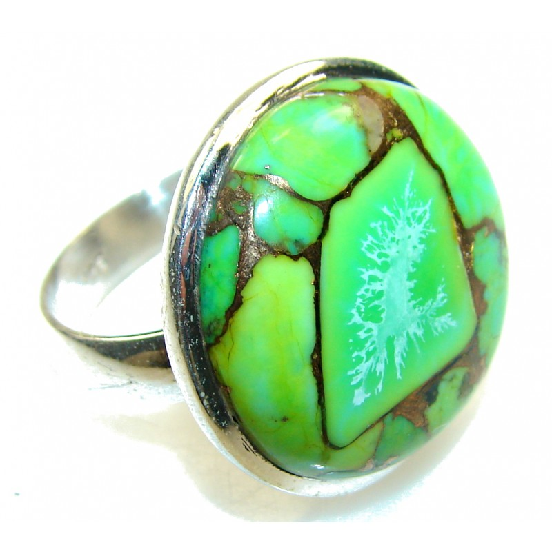 Green Copper Turquoise Sterling Silver Ring s. 11 1/4