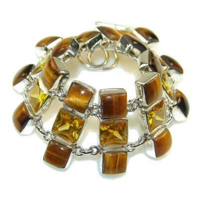 Awesome Design!! Tigers Eye Sterling Silver Bracelet
