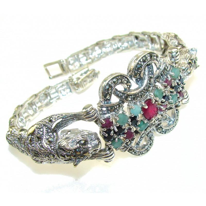 Stylish! Tigers Pink Diadem Faceted Ruby Sterling Silver Bracelet