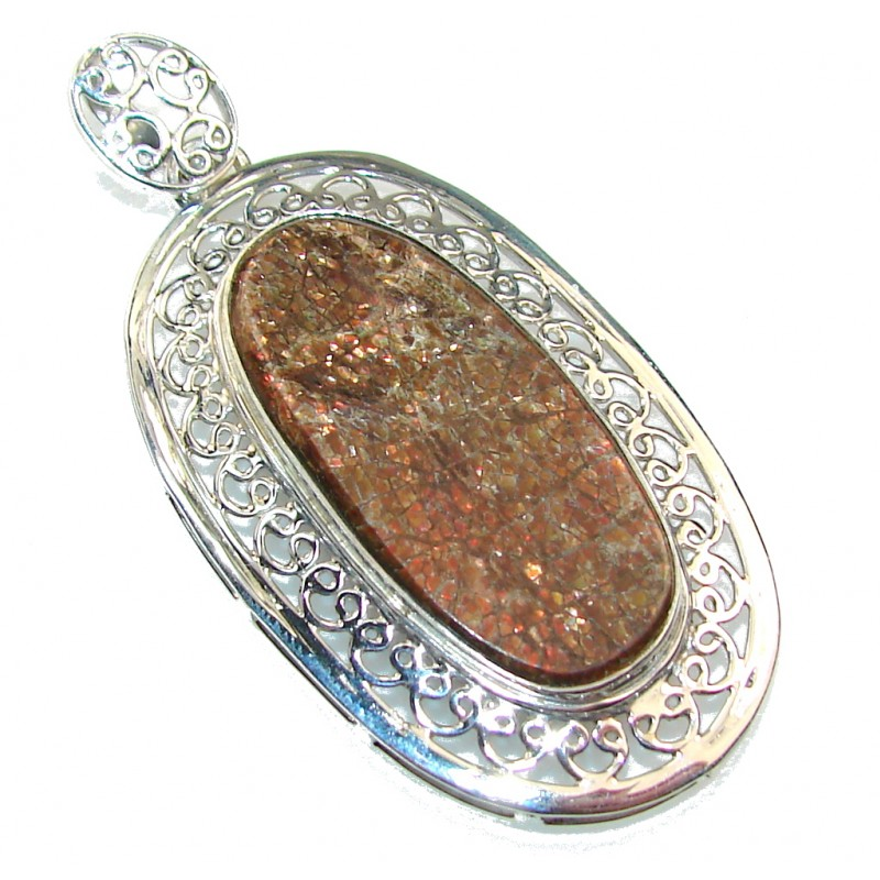 Secret Design!! Ammolite Sterling Silver Pendant