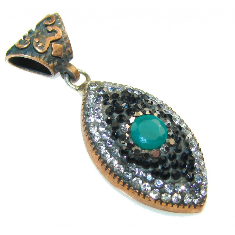 Amazing Design!! Emerald Sterling Silver Pendant