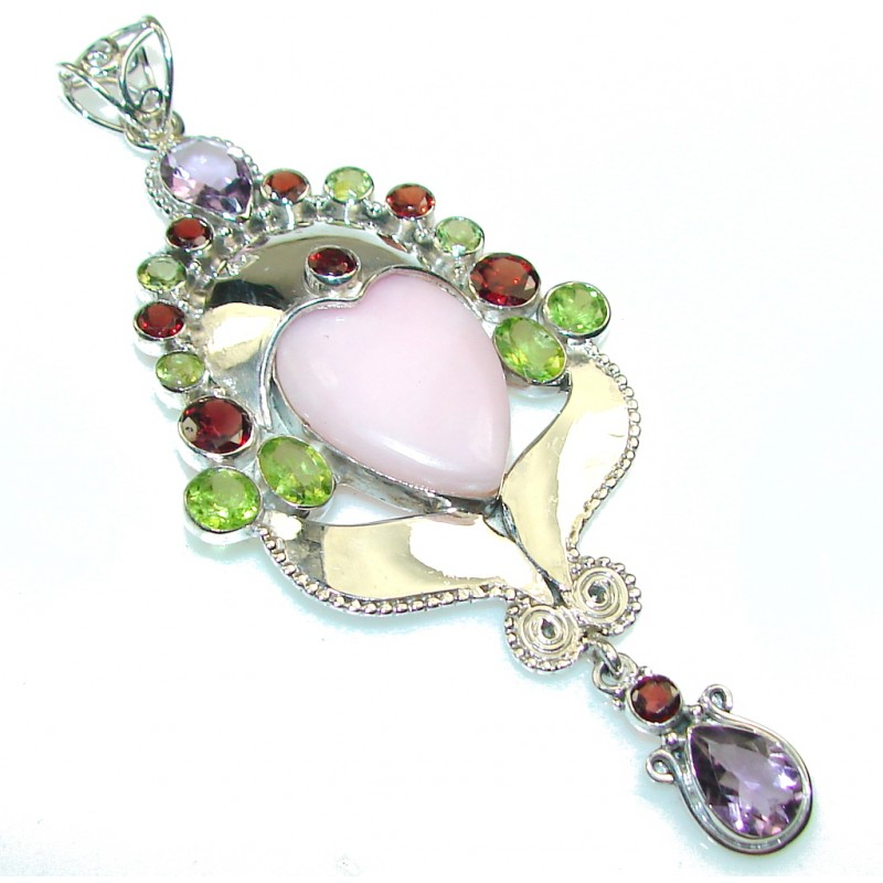 Aura Of Beauty!! Pink Opal Sterling Silver Pendant