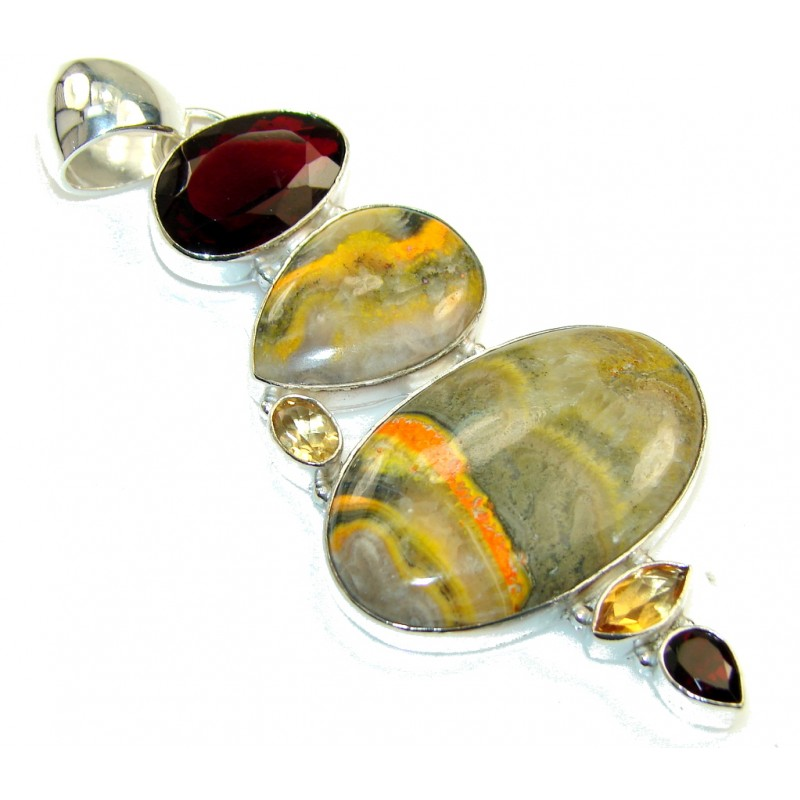 Excellent Yellow Bumble Bee Jasper Sterling Silver Pendant
