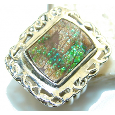 So In Love!! Green Ammolite Sterling Silver ring s. 7