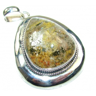 Excellent Green Fossilized Coral Sterling Silver pendant