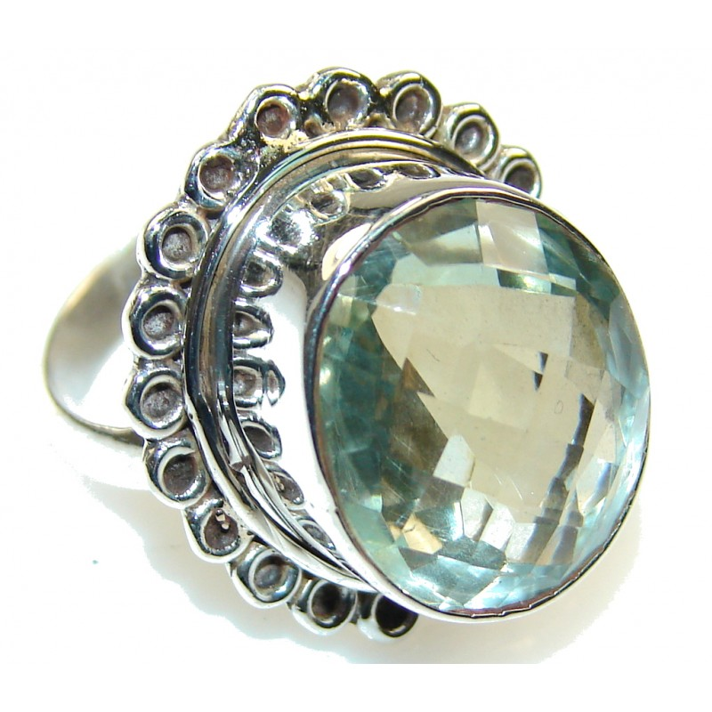Great Green Amethyst Sterling Silver Ring s. 8