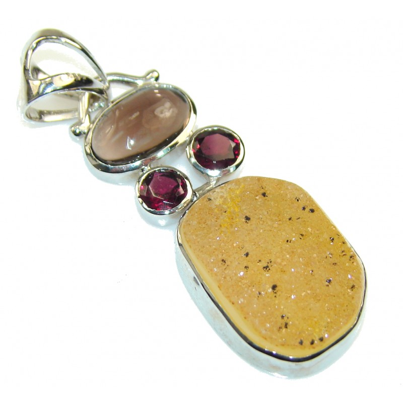 Truly Magic Botswana Agate Druzy Sterling Silver Pendant