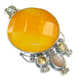 Sweet Honey Carnelian Sterling Silver Pendant