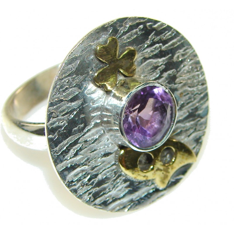 New! Two Tones Faceted Amethyst Sterling Silver Ring s. 8 3/4
