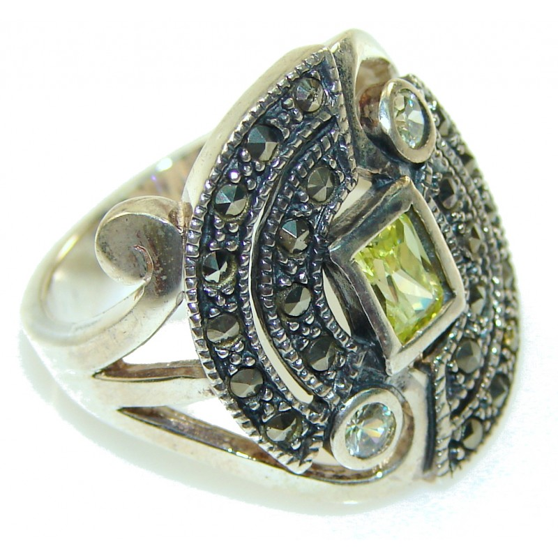 New! Faceted Green Peridot Quartz Sterling Silver Ring s. 8