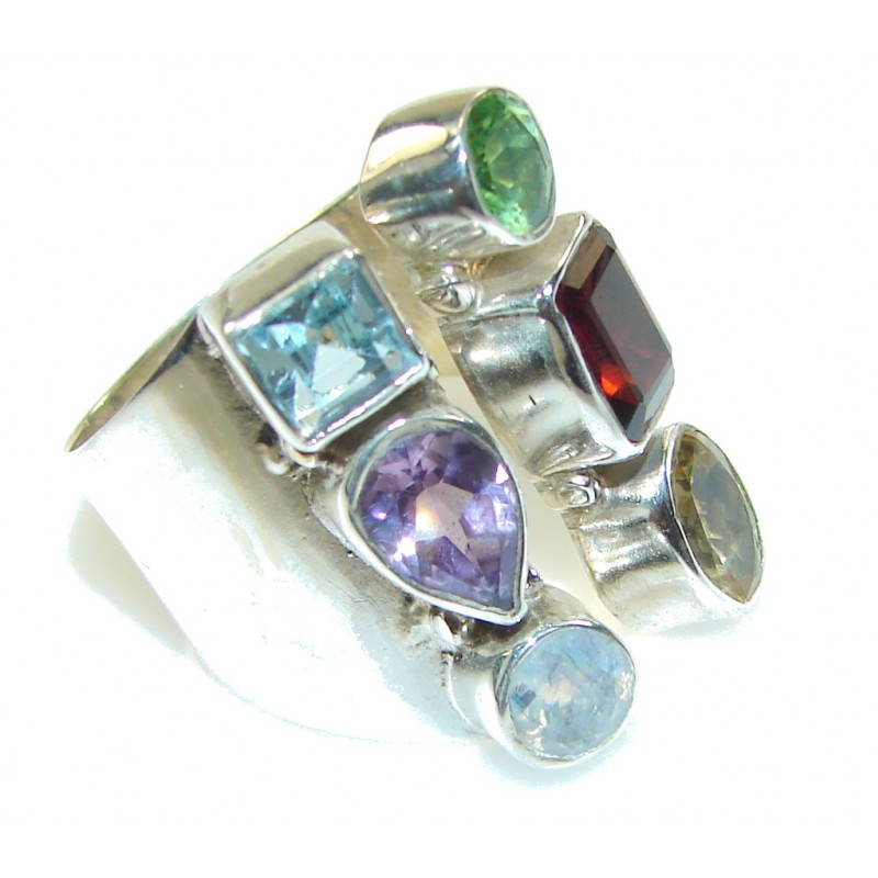 Exclusive Multigem Sterling Silver Ring s 6 1/4