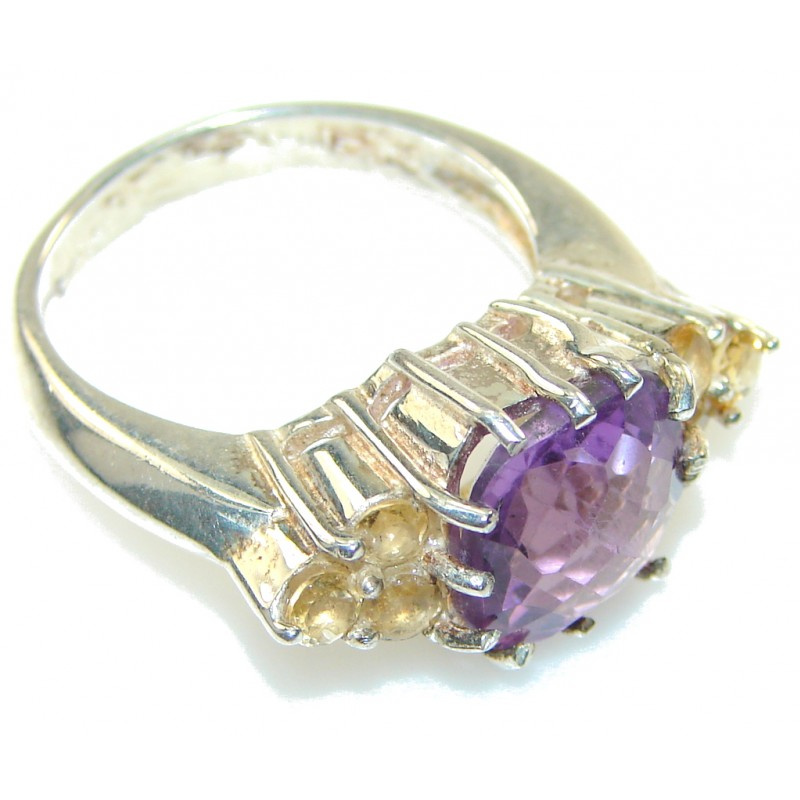 New! Faceted Amethyst Sterling Silver Ring s. 8 3/4