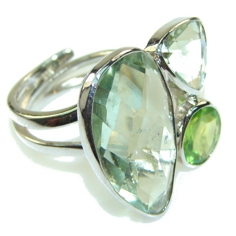 Delicate Green Amethyst Sterling Silver ring s. 6 3/4 - Adjustable
