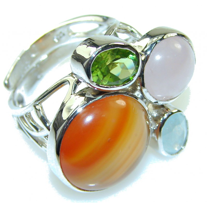 Amazing Design! Brown Carnelian Sterling Silver ring s. 7 - adjustable