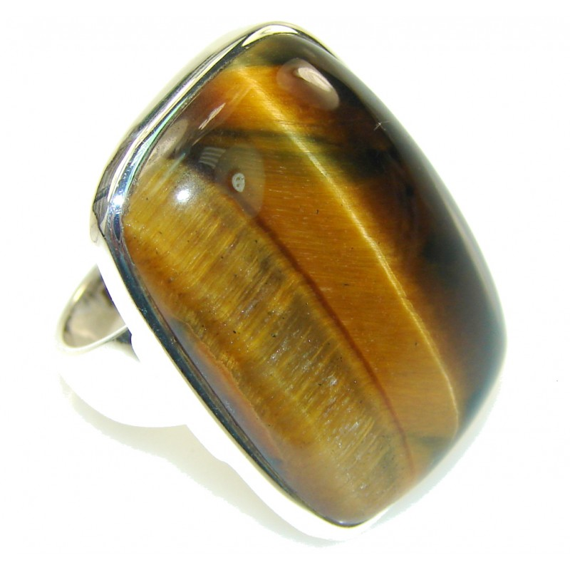 Natural Golden Tigers Eye Sterling Silver Ring s. 8