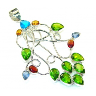Large Precious Multicolor Quartz Sterling Silver Pendant