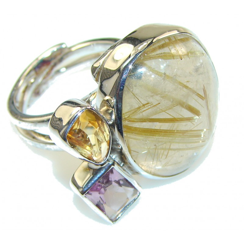 Himalayan Golden Rutilated Quartz Sterling Silver Ring s. 7 1/4 & up- adjustable