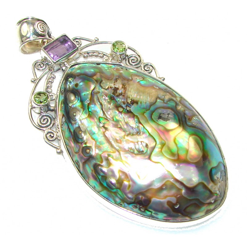 Giant! Beautiful Rainbow Abalone Sterling Silver Pendant