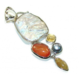 Big Stylish Mother Of Pearl Sterling Silver Pendant