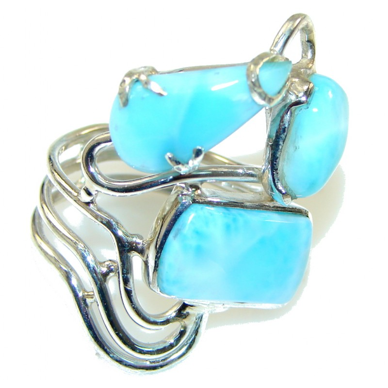 Fashion Light Blue Larimar Sterling Silver Ring s. 9