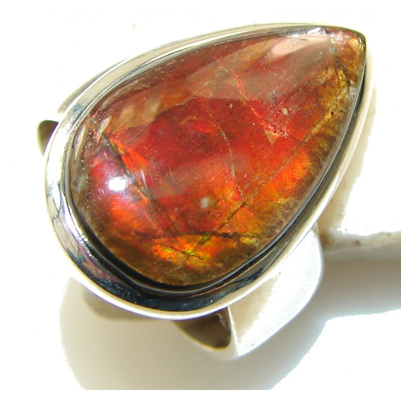 Amazing Design!! Ammolite Sterling Silver ring s.7 1/4