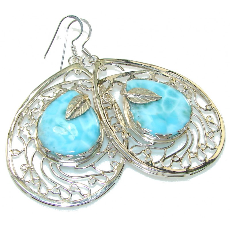 Big! Paradise Style!! Blue Larimar Sterling Silver earrings