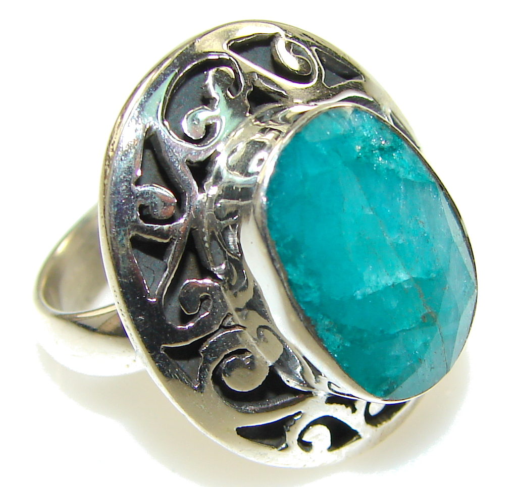 green emerald sterling silver ring s 6 1 4 9