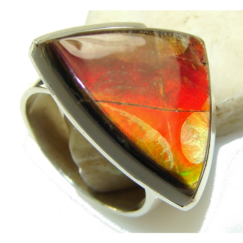Sunset Glow!! Ammolite Sterling Silver ring s. 7