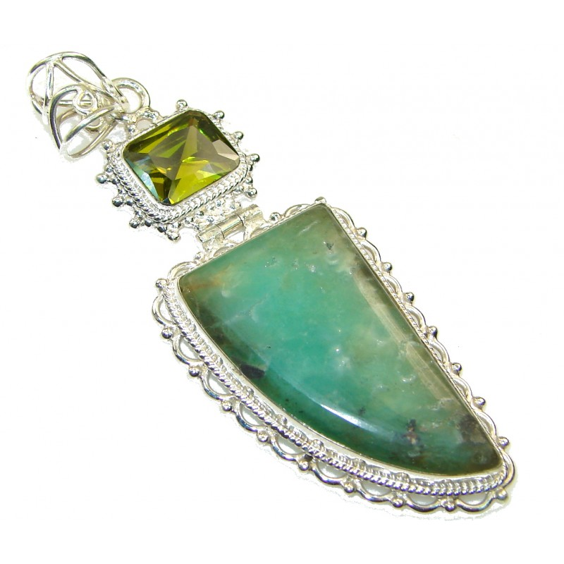 Excellent Green Chrysoprase Sterling Silver pendant