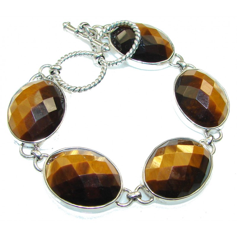 Natural Beauty!! Tigers Eye Sterling Silver Bracelet