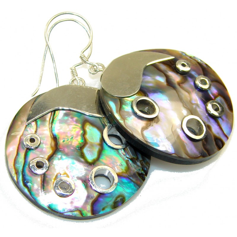New Style!! Rainbow Abalone Sterling Silver earrings