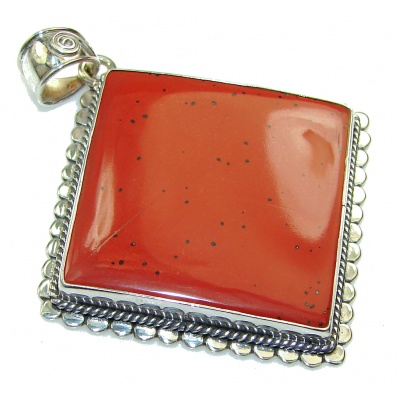 Duality In Brown!! Red Jasper Sterling Silver Pendant