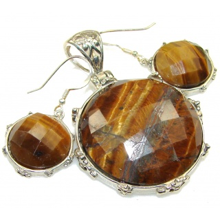 Amazing Design! Brown Tigers Eye Sterling Silver earrings / Set