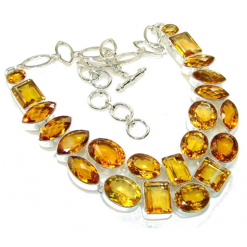 Misty Morning!! Created Golden Topaz Sterling Silver necklace
