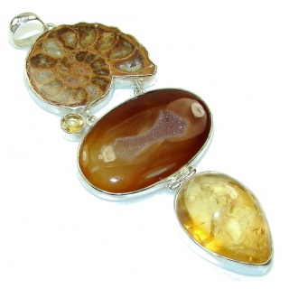 Huge! Stylish AAA Agate Druzy Sterling Silver Pendant