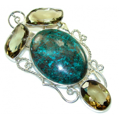 Big!! Dazzling Green Chrysocolla Sterling Silver pendant