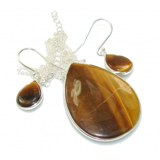 Perfect Gift! Tigers Eye Sterling Silver Necklace / Earrings