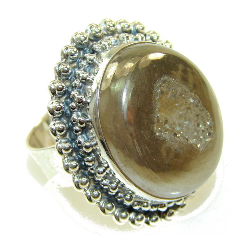 New Classy Golden Druzy Sterling Silver Ring s. 9