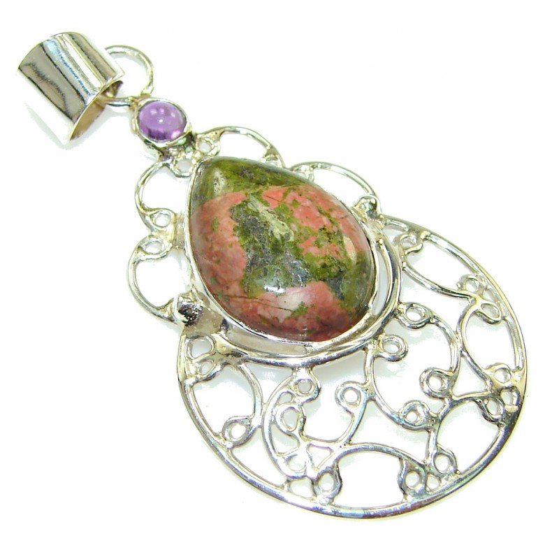 Just Perfect! Russian Unakite Sterling Silver Pendant