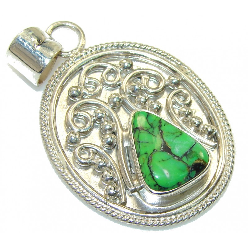 Stylish Green Copper Turquoise Sterling Silver Pendant