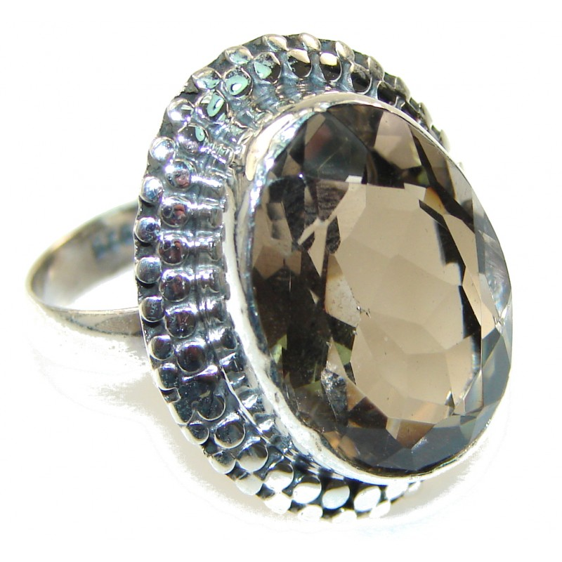 Light Brown Smoky Topaz Sterling Silver ring; s. 9 1/2