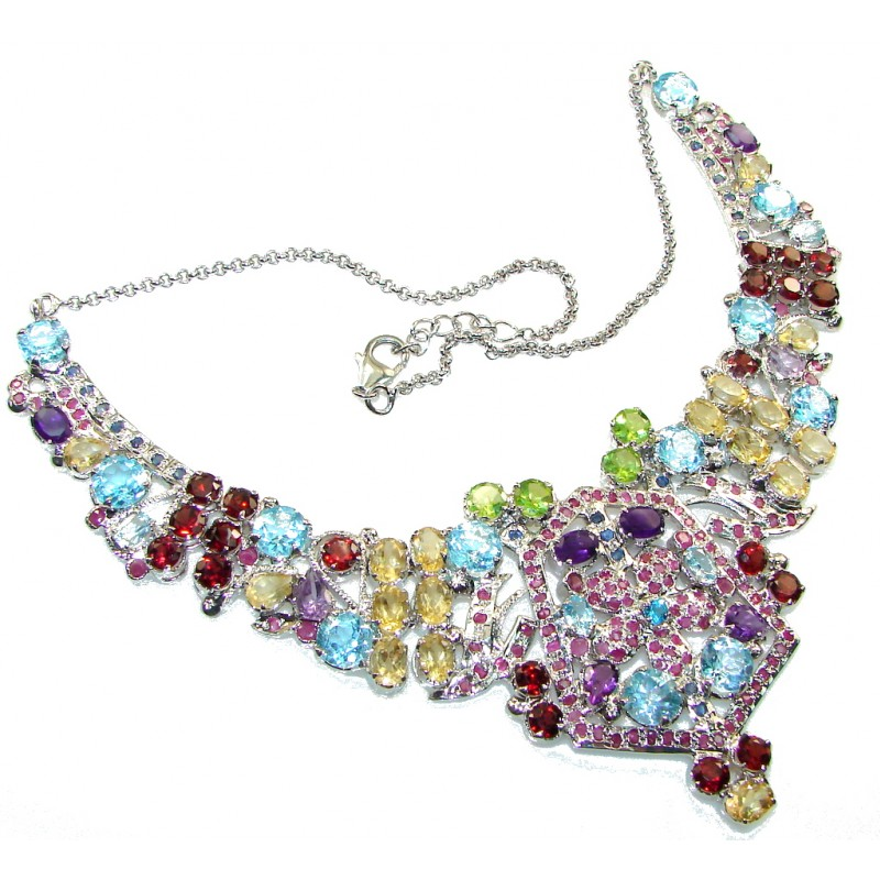 Spring Garland!! Amazing Multigems Sterling Silver Necklace