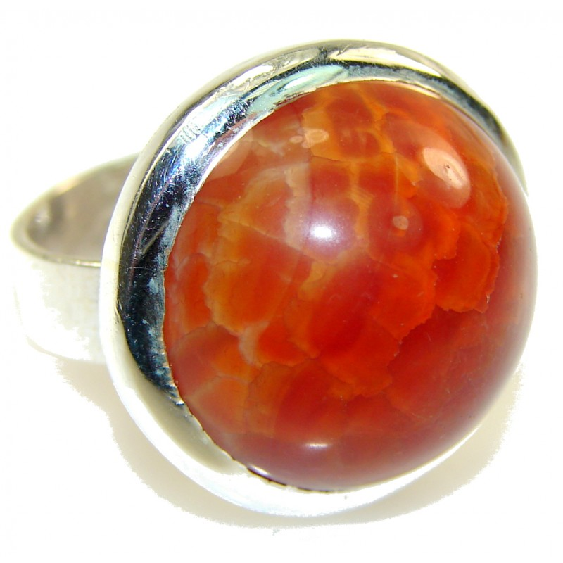 Fantastic Mexican Fire Agate Sterling Silver Ring s. 8 1/2