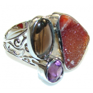 Classy Brown Agate Druzy Sterling Silver Ring s.7 - Adjustable