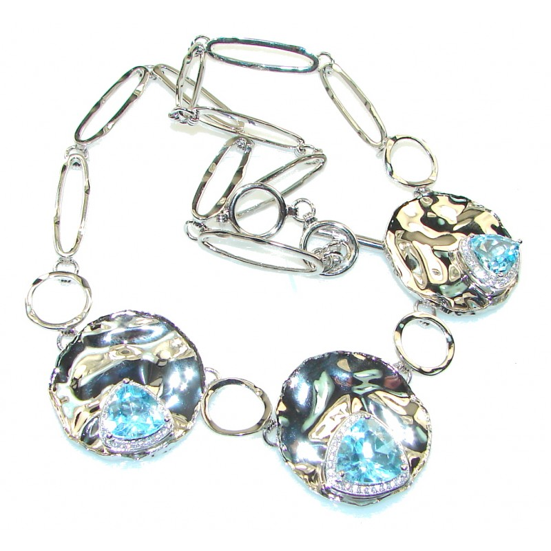 Sky Drops! Swiss Blue Topaz Hammered Sterling Silver necklace