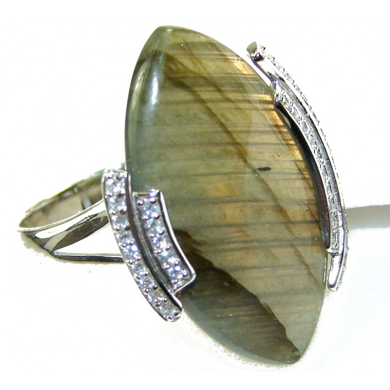 Rich Personality!! Labradorite Sterling Silver ring s. 11 1/4