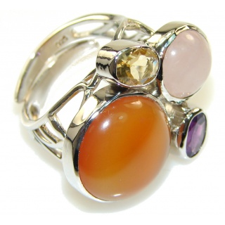 Amazing Design! Carnelian Sterling Silver ring s. 7 - adjustable