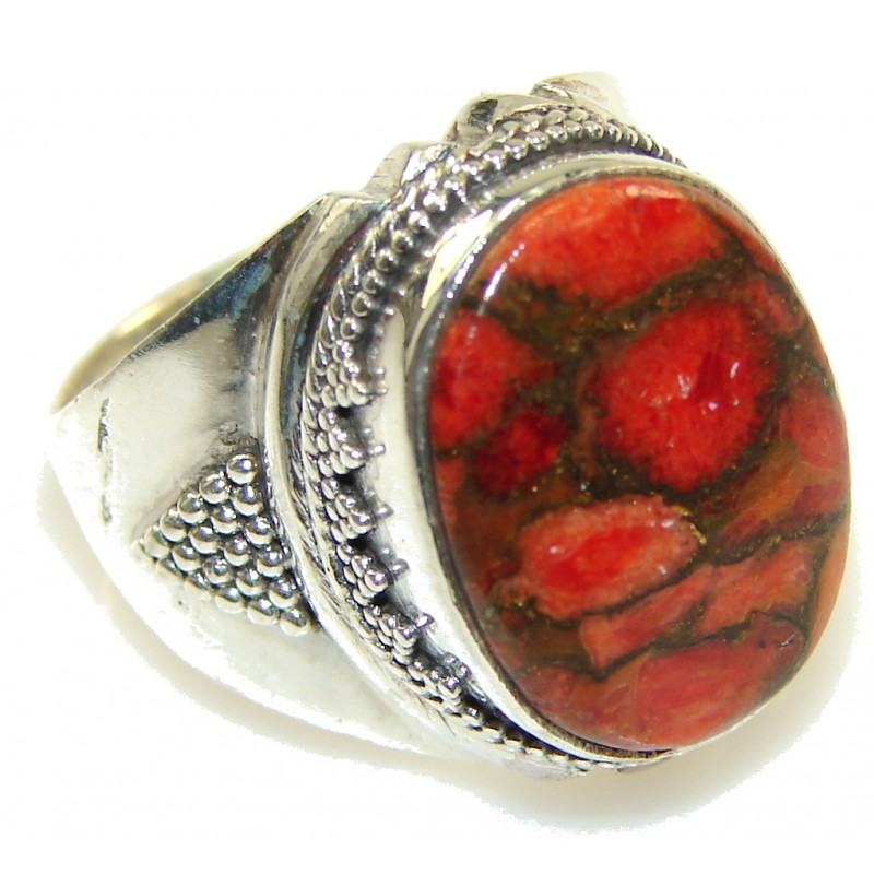 Orange Copper Turquoise Sterling Silver Ring s. 7 1/4