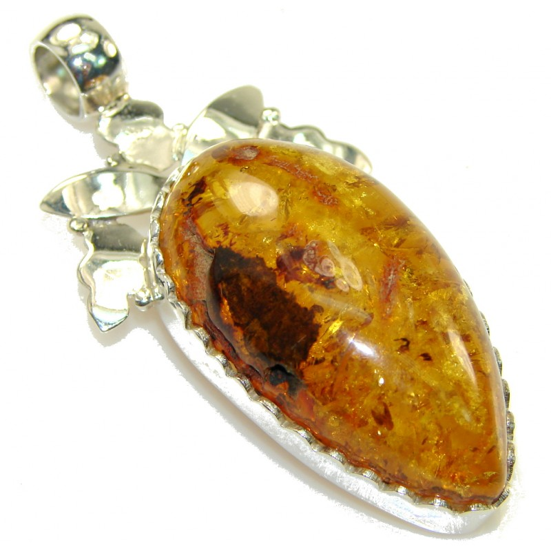 Fashion Polish Amber Sterling Silver Pendant