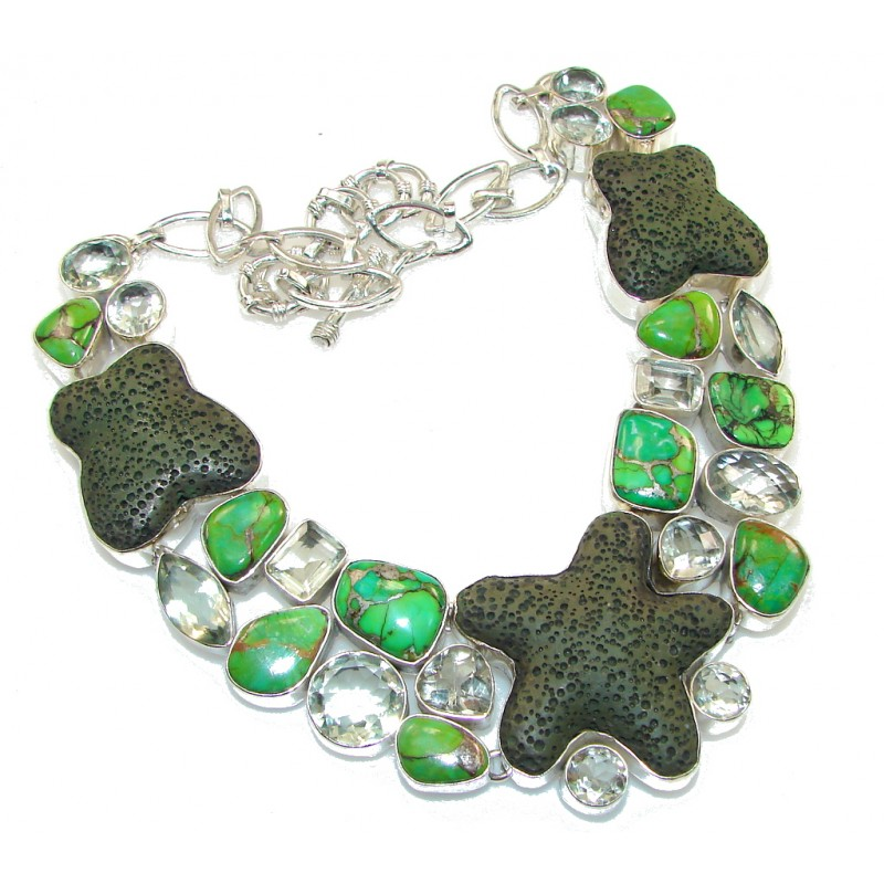 New Design!! Green Pumice Sterling Silver necklace